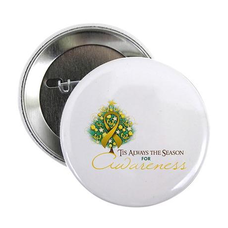 "Gold Ribbon Xmas Tree 2.25"" Button (100 pack)"