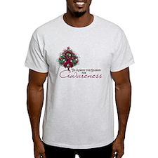 Burgundy Ribbon Xmas Tree T-Shirt