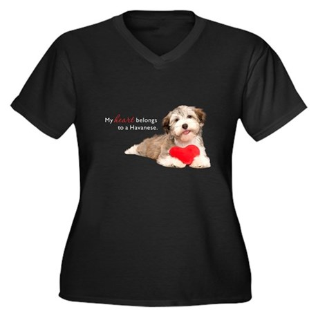 Havanese Heart Women's Plus Size V-Neck Dark T-Shi