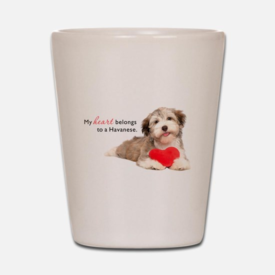 Havanese Heart Shot Glass