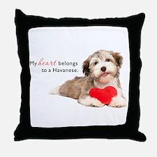 Havanese Heart Throw Pillow
