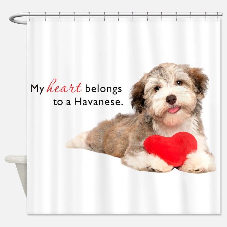 Havanese Heart Shower Curtain