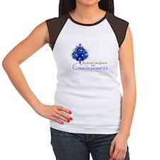 Blue Ribbon Xmas Tree Women's Cap Sleeve T-Shirt