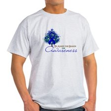 Blue Ribbon Xmas Tree T-Shirt
