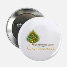 "Amber Ribbon Xmas Tree 2.25"" Button"