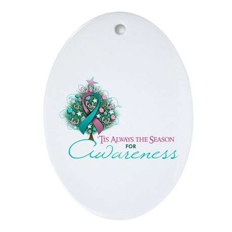 Pink and Teal Ribbon Xmas Tree Ornament (Oval)