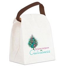 Pink and Teal Ribbon Xmas Tree Canvas Lunch Bag