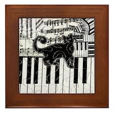 Black Cat on a Keyboard Framed Tile