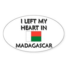 I Left My Heart In Madagascar Oval Decal