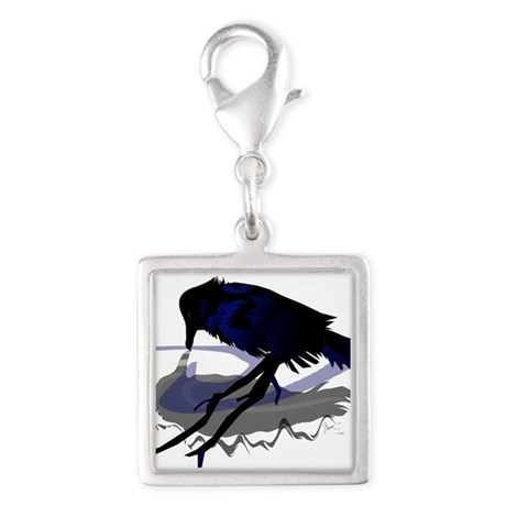 Raven Drinking with Shadow Silver Square Charm