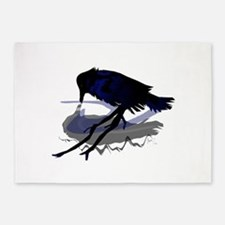 Raven Drinking with Shadow 5'x7'Area Rug