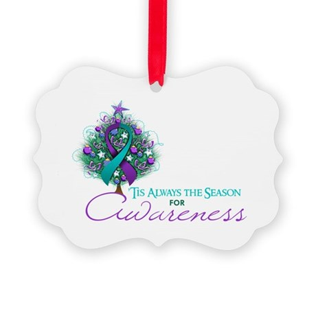 Teal and Purple Ribbon Xmas Tree Picture Ornament