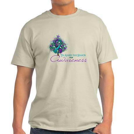 Teal and Purple Ribbon Xmas Tree Light T-Shirt