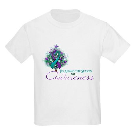 Teal and Purple Ribbon Xmas Tree Kids Light T-Shir