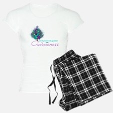 Teal and Purple Ribbon Xmas Tree Pajamas