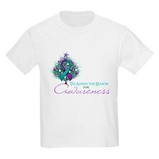 Teal and Purple Ribbon Xmas Tree T-Shirt