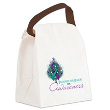 Teal and Purple Ribbon Xmas Tree Canvas Lunch Bag