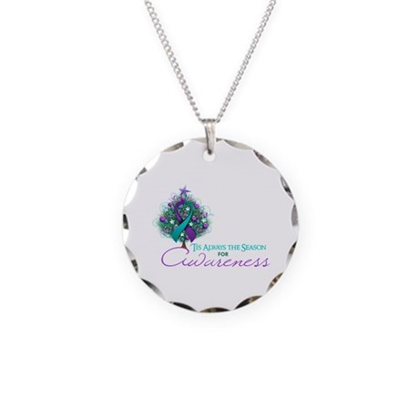 Teal and Purple Ribbon Xmas Tree Necklace Circle C