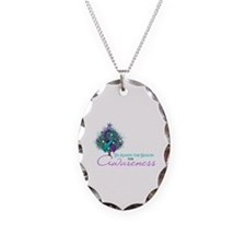 Teal and Purple Ribbon Xmas Tree Necklace