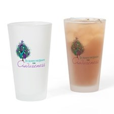 Teal and Purple Ribbon Xmas Tree Drinking Glass