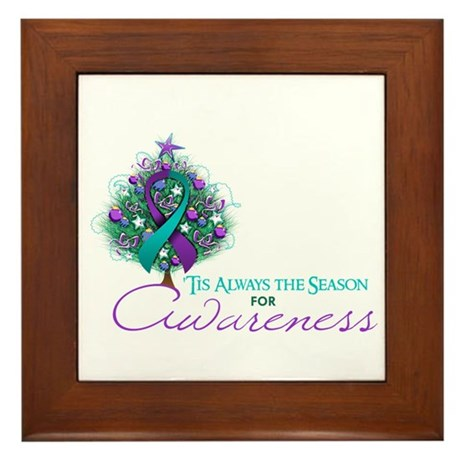 Teal and Purple Ribbon Xmas Tree Framed Tile