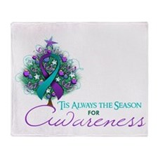 Teal and Purple Ribbon Xmas Tree Throw Blanket
