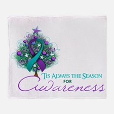 Teal and Purple Ribbon Xmas Tree Throw Blanket