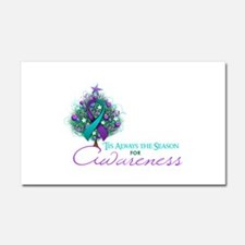 Teal and Purple Ribbon Xmas Tree Car Magnet 20 x 1