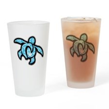 blue hawaiian print turtle Drinking Glass