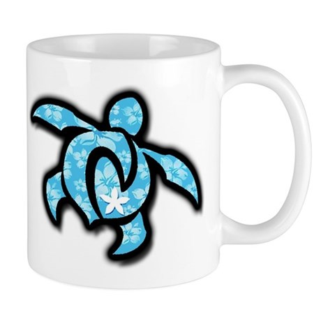 blue hawaiian print turtle Mug