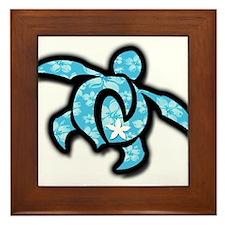 blue hawaiian print turtle Framed Tile