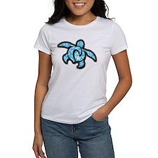 blue hawaiian print turtle Tee