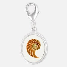 Nautilus Natural Silver Oval Charm