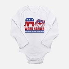 Work Harder Long Sleeve Infant Bodysuit