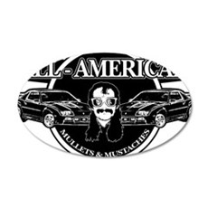 ALL AMERICAN MULLETS MUSTACHES Wall Decal