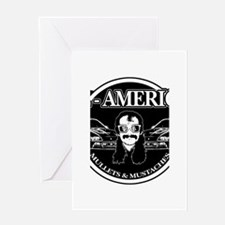 ALL AMERICAN MULLETS MUSTACHES Greeting Card