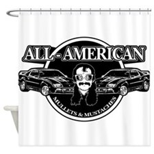 ALL AMERICAN MULLETS MUSTACHES Shower Curtain