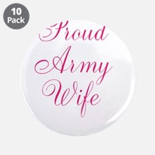 """Pink Army Wife 3.5"""" Button (10 pack)"""