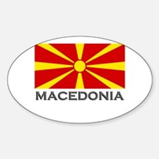 Macedonia Flag Gear Oval Decal