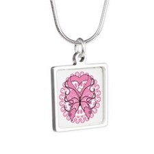 Breast Cancer Butterfly Silver Square Necklace