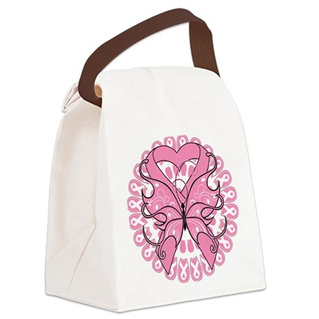 Breast Cancer Butterfly Canvas Lunch Bag