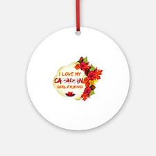 Canadian Girlfriend Valentine design Ornament (Rou