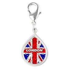 Awesome British Flag Silver Teardrop Charm