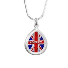 Awesome British Flag Silver Teardrop Necklace