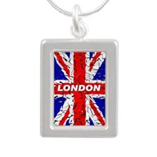 Awesome British Flag Silver Portrait Necklace