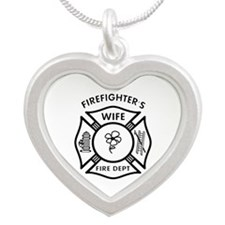 Firefighter Wives Silver Heart Necklace