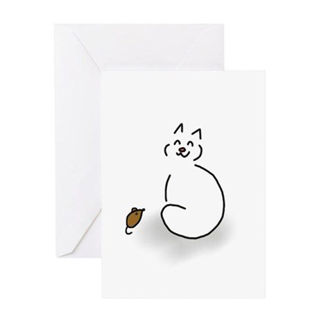 Happy cat and mouse - blank inside