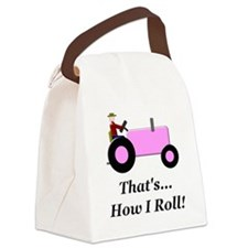 Pink Tractor How I Roll Canvas Lunch Bag