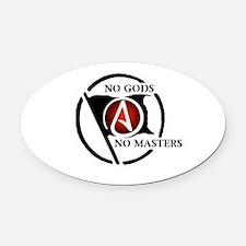 No Gods No Masters Oval Car Magnet