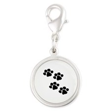 Animal Paw Prints Silver Round Charm
